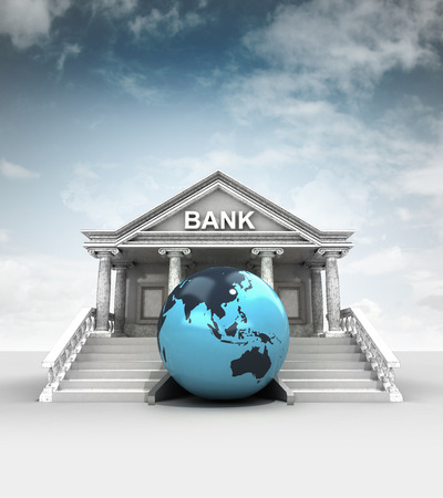 treasury: Asia earth globe in front of bank in classic style with sky illustration