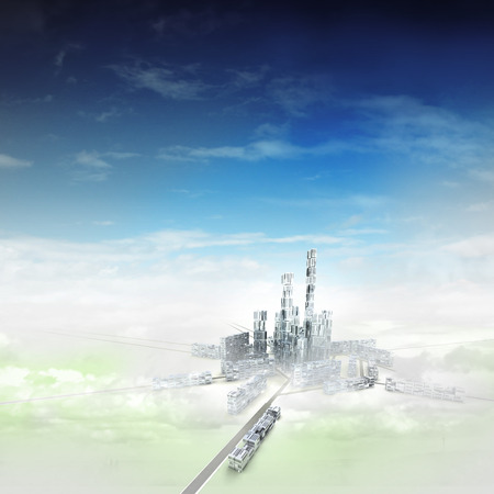 bird view focused to modern city of future in mist illustration Stock Photo