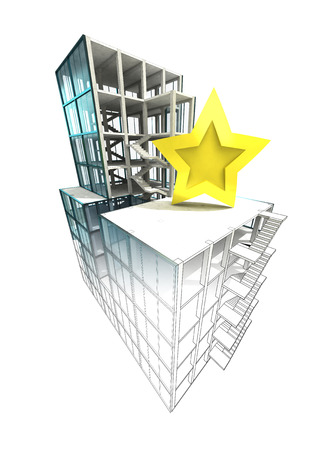 rated: top rated concept of architectural building plan finishing illustration Stock Photo