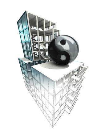 balance concept of architectural building plan finishing illustration illustration