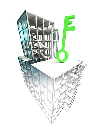 green key concept of architectural building plan finishing illustration illustration