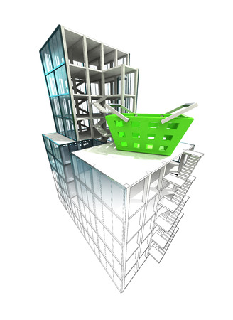 building trade: trade concept of architectural building plan finishing illustration