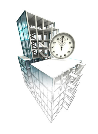 time manage concept of architectural building plan finishing illustration illustration