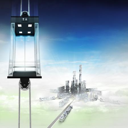 empty sky space elevator concept above city illustration illustration