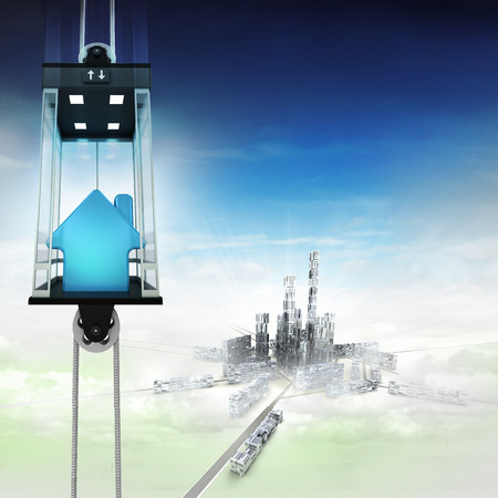 down town: house estate in sky space elevator concept above city illustration Stock Photo