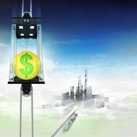 golden Dollar coin in sky space elevator concept above city illustration illustration