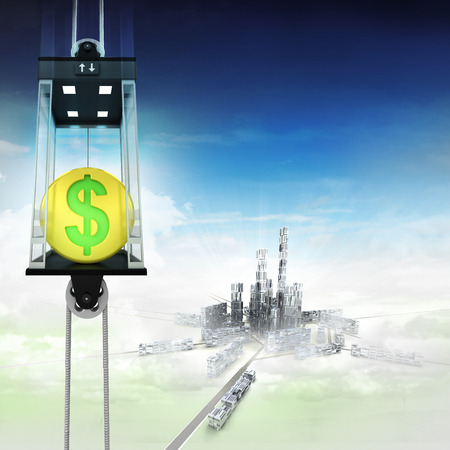 down town: golden Dollar coin in sky space elevator concept above city illustration Stock Photo