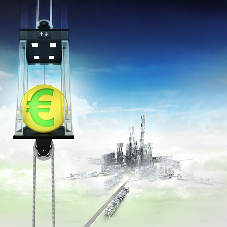 down town: golden Euro coin in sky space elevator concept above city illustration
