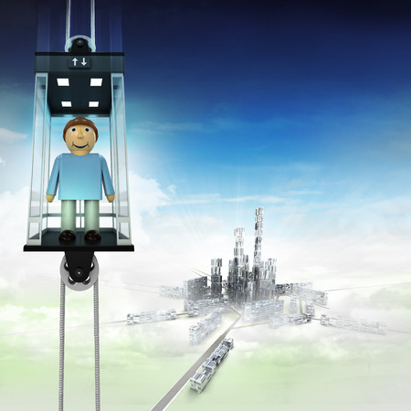happy man in sky space elevator concept above city illustration illustration