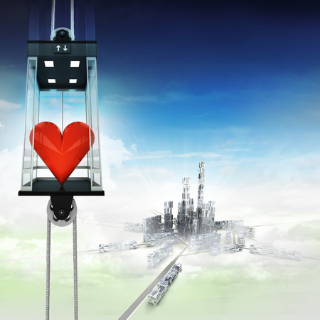 down town: love heart in sky space elevator concept above city illustration