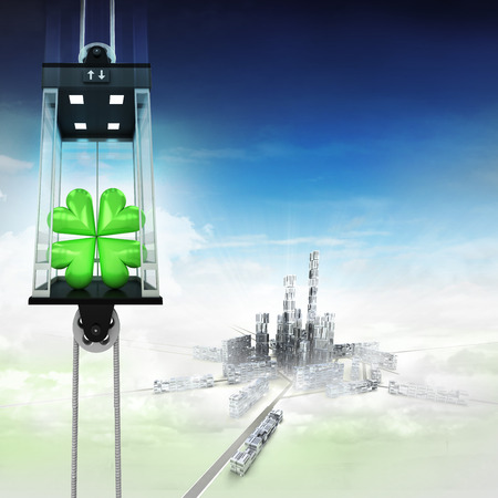 felicity: cloverleaf happiness in sky space elevator concept above city illustration Stock Photo