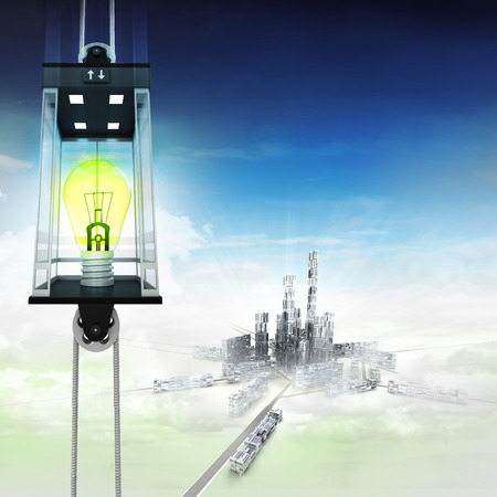 down town: yellow lightbulb in sky space elevator concept above city illustration Stock Photo