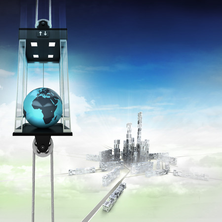 down town: Africa earth globe in sky space elevator concept above city illustration