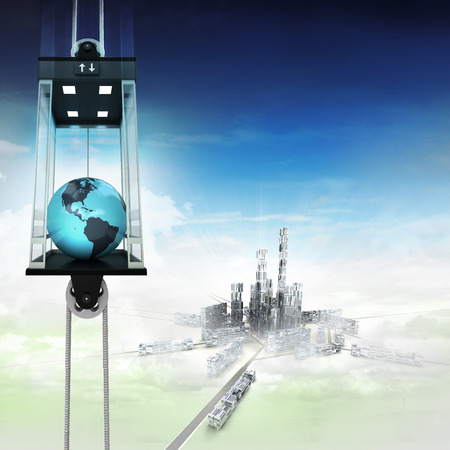 America earth globe in sky space elevator concept above city illustration illustration