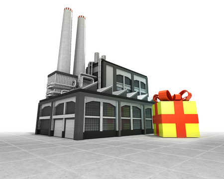 gift wrapping as industrial factory production concept illustration illustration