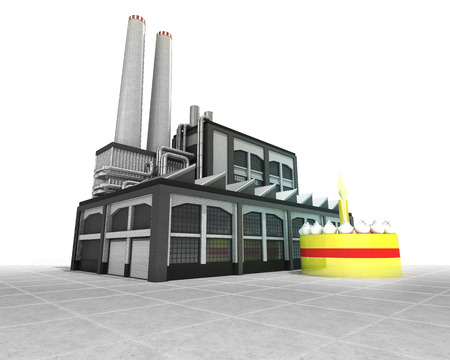 cake factory: fancy cake as industrial factory production concept illustration