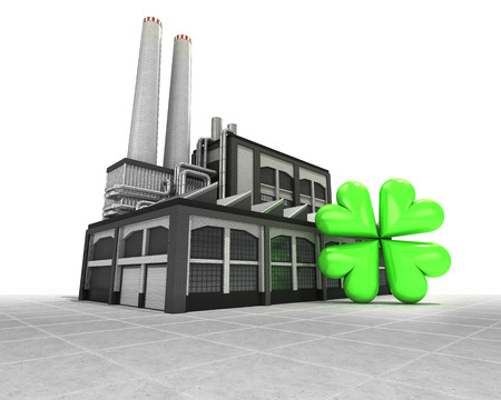 felicity: cloverleaf happiness as industrial factory production concept illustration