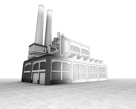 building sketch: isolated factory building half wire sketch illustration