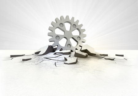 cleft: industrial cogwheel stuck into ground with flare concept illustration Stock Photo