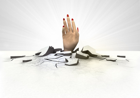 hollow body: human hand stuck into ground with flare concept illustration Stock Photo