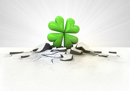 lucky break: cloverleaf happiness stuck into ground with flare concept illustration Stock Photo