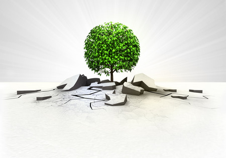leafy tree stuck into ground with flare concept illustration illustration