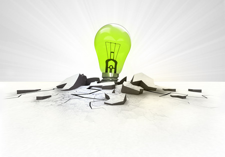 green lightbulb stuck into ground with flare concept illustration
