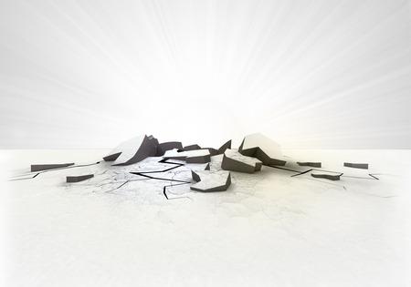 empty cracked ground hole with flare on white illustration