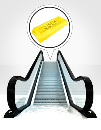 goods station: gold ingot in bubble above escalator leading to upwards concept illustration