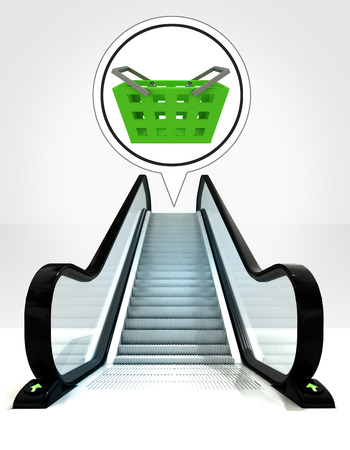 goods station: trade basket in bubble above escalator leading to upwards concept illustration
