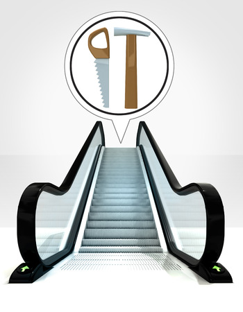 dyi: hand tools in bubble above escalator leading to upwards concept illustration Stock Photo