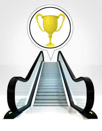 champion cup in bubble above escalator leading to upwards concept illustration illustration