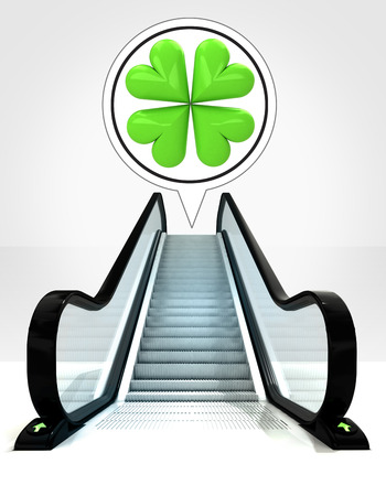 in bubble above escalator leading to upwards concept illustration illustration