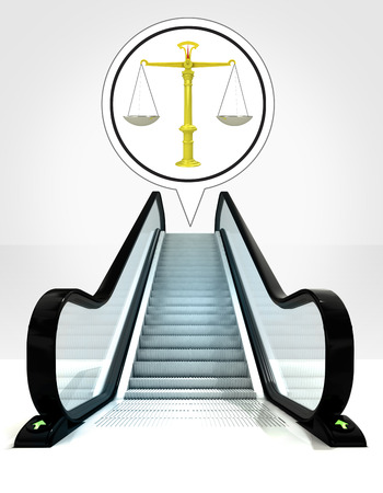 justice weight in bubble above escalator leading to upwards concept illustration illustration