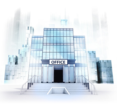 building entrance: office building facade in business city concept render illustration