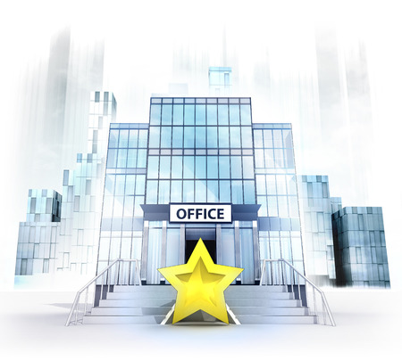 top rating star in front of office building as business city concept render illustration illustration