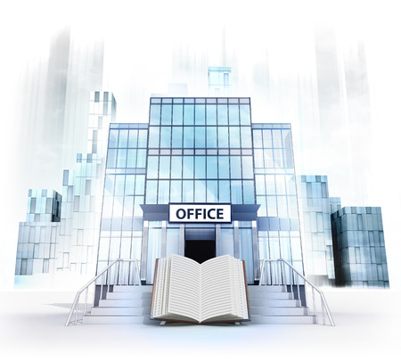 career entry: open book in front of office building as business city concept render illustration