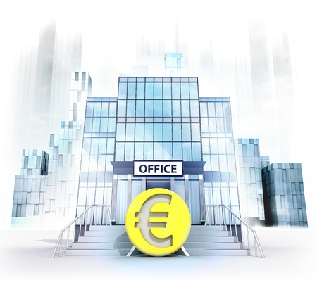 Euro coin in front of office building as business city concept render illustration illustration