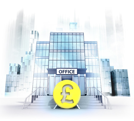 handrail: Pound coin in front of office building as business city concept render illustration