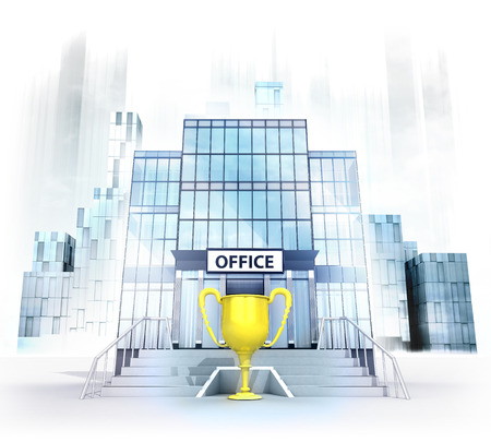 champion cup in front of office building as business city concept render illustration illustration