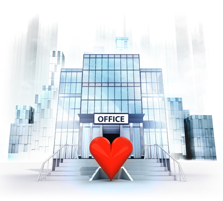 red heart in front of office building as business city concept render illustration illustration