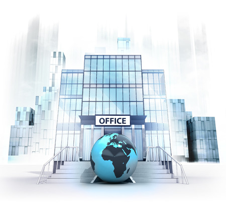 Afrika world globe in front of office building as business city concept render illustration