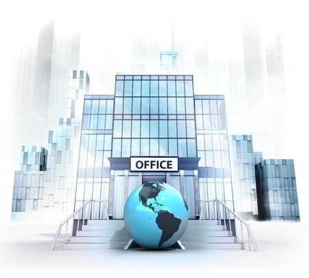 Amerika world globe in front of office building as business city concept render illustration illustration