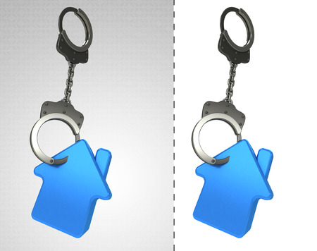retribution: house estate in chain as criminality concept double illustration