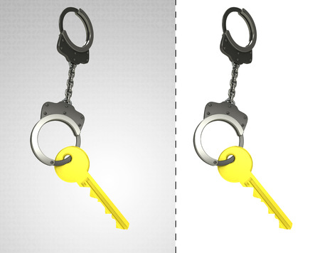 criminality: golden key in chain as criminality concept double illustration