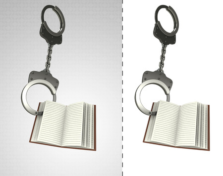 criminality: open book in chain as criminality concept double illustration Stock Photo