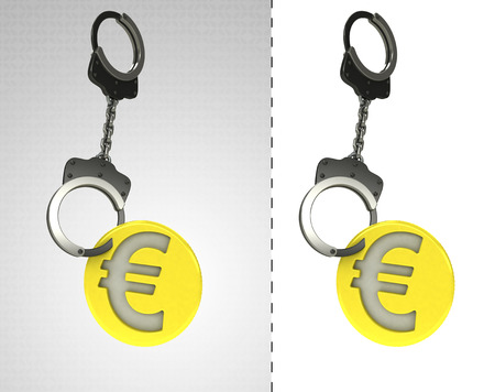 criminality: golden Euro coin in chain as criminality concept double illustration Stock Photo