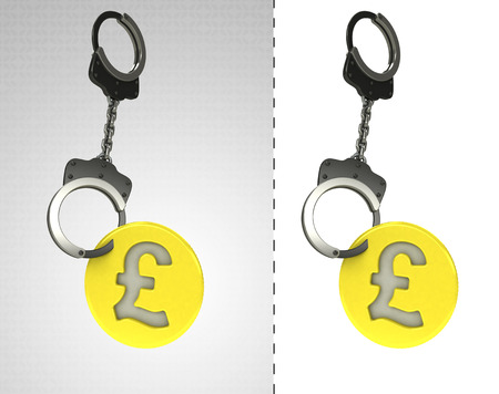 golden Pound coin in chain as criminality concept double illustration illustration