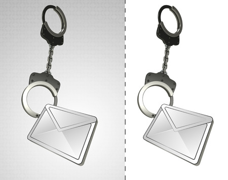 send to prison: email message in chain as criminality concept double illustration Stock Photo