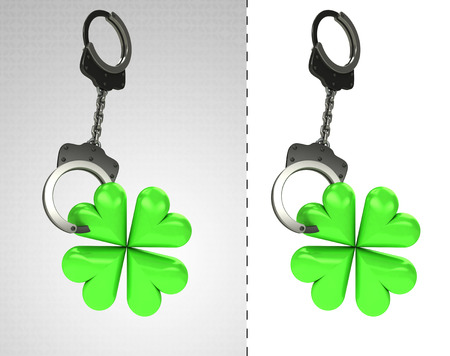 cloverleaf: cloverleaf happiness in chain as criminality concept double illustration